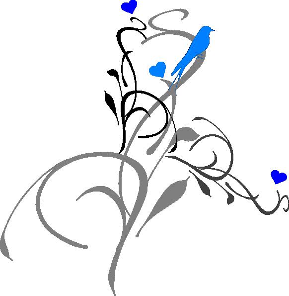 582x595 Blue Bird On A Vine Clip Art