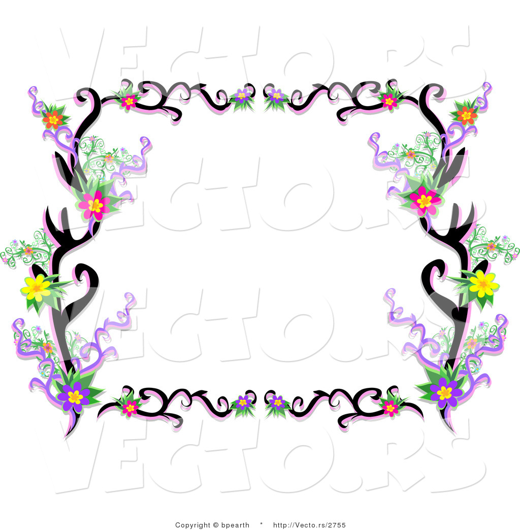1024x1044 Vector Of Lacy Black Floral Vines Border Frame By Bpearth