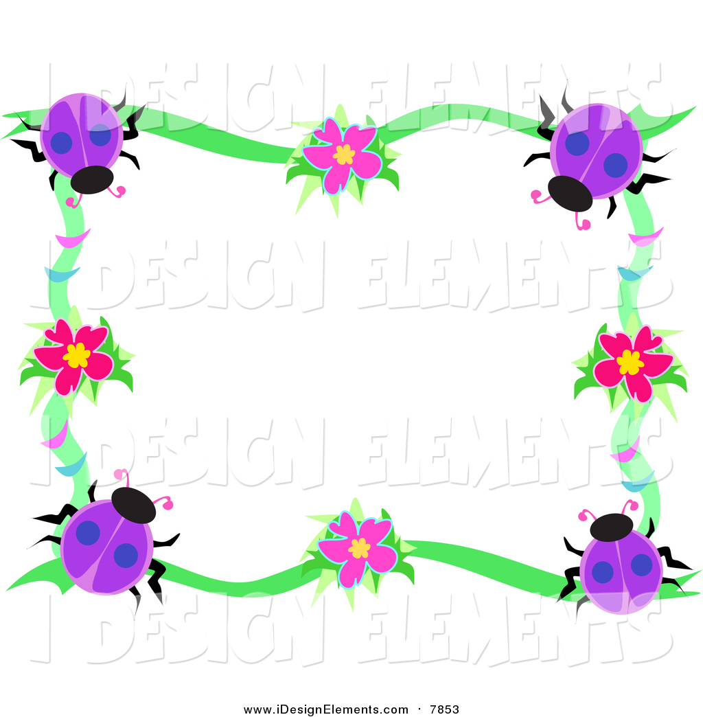 1024x1044 Clip Art Of A Purple Ladybug And Vine Border By Bpearth