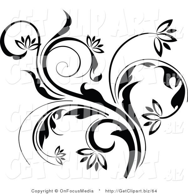 600x620 Flower Vine Art Curling Flowering Vine Accent Flowing Up Get