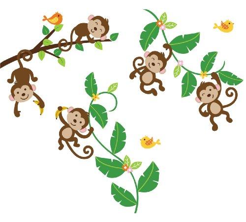 500x450 Monkey Swinging On A Vine Clip Art