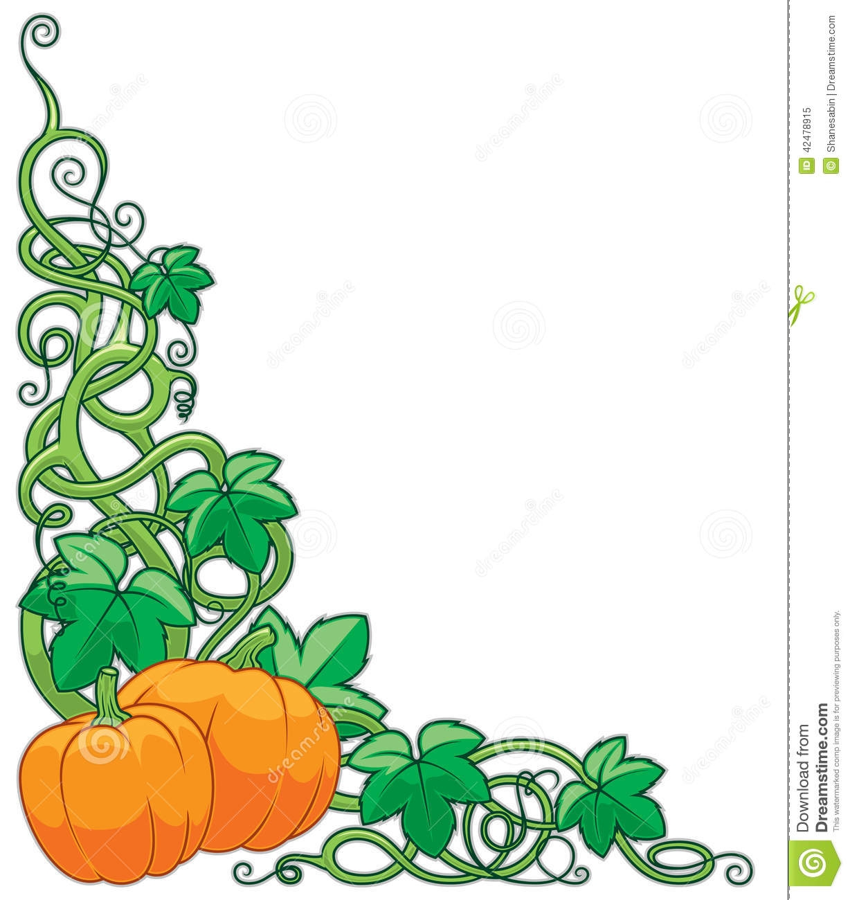 1228x1300 Pumpkin Vine Border Clipart