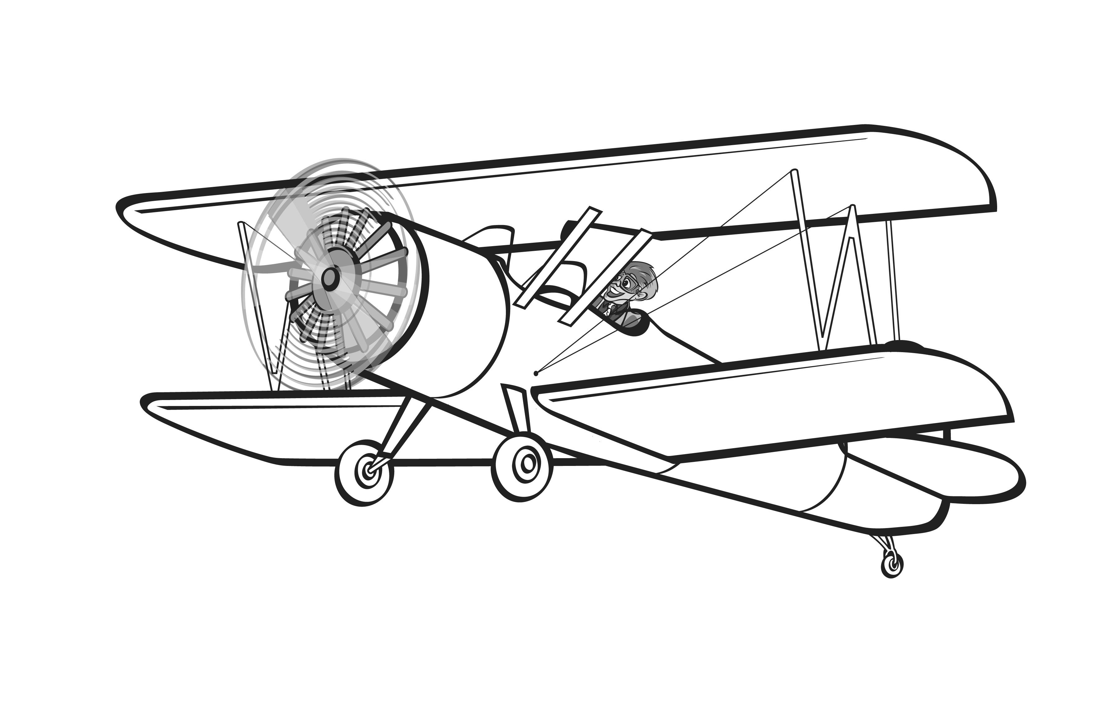 3570x2310 Aviation Clipart Biplane