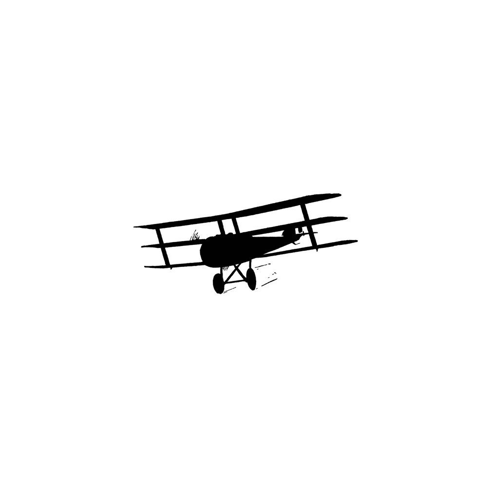 1000x1000 Biplane Rubber Stamp Prop Plane Old Vintage Airplane Silhouette