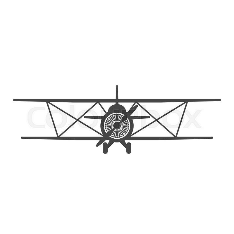 800x800 Biplane. Retro Airplane Illustration. Vintage Plane Front View