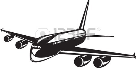 450x227 Illustration Of A Vintage Airplane Airliner Flying With Sunburst