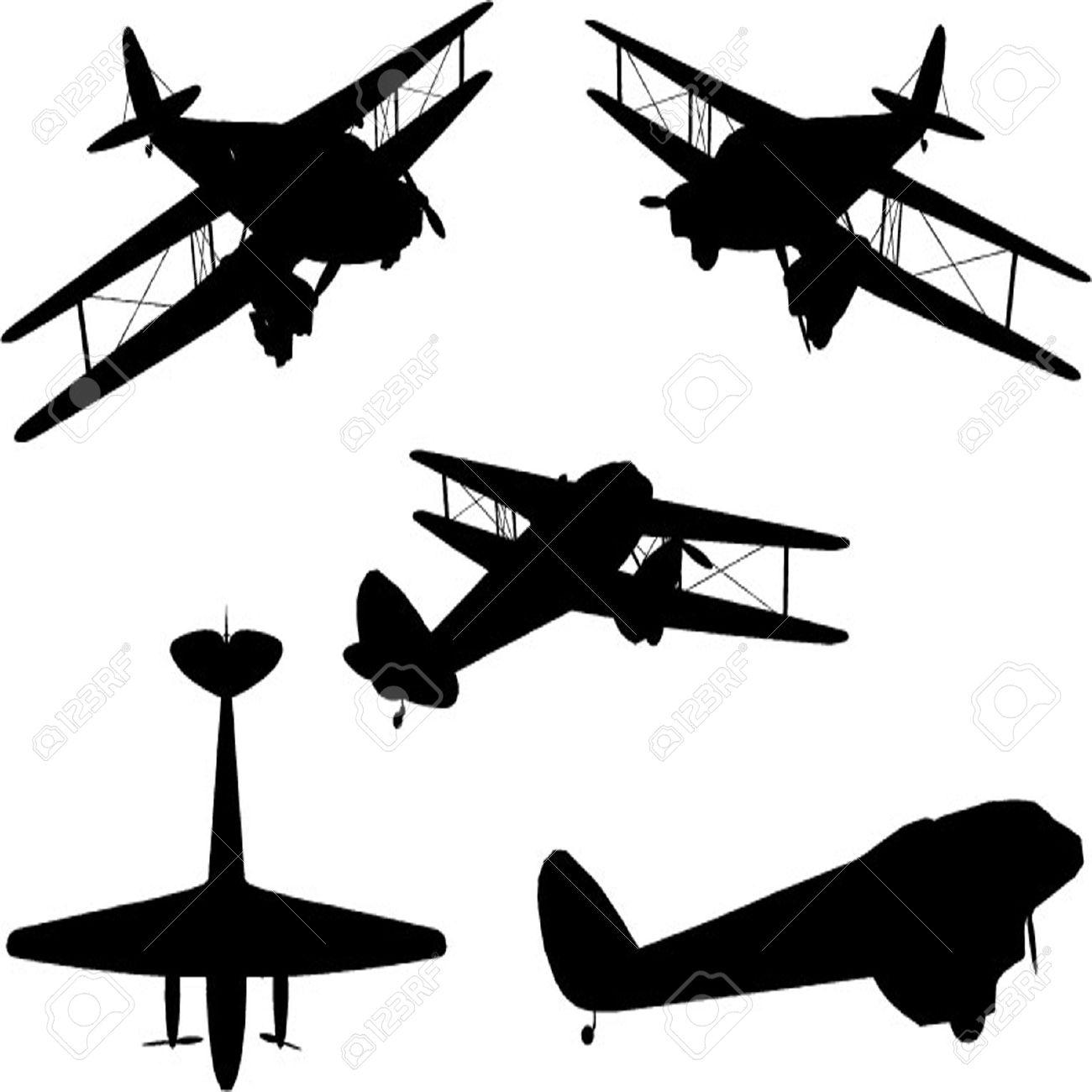 1300x1300 Vintage Plane Silhouette Set Royalty Free Cliparts, Vectors,