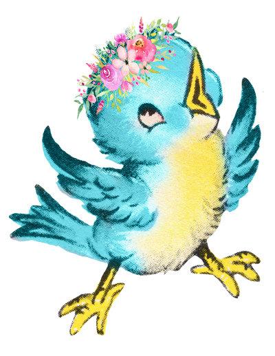 400x518 Blue Bird Image, Cute Bird Cutout, Vintage Bird Image, Vintage