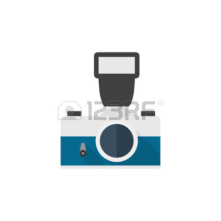 450x450 Vintage Camera Icon In Flat Color Style. Photography Picture