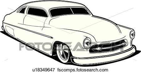450x235 Clip Art Of Car, Auto, Automobile, Cars, Autos, Automobiles, 1950