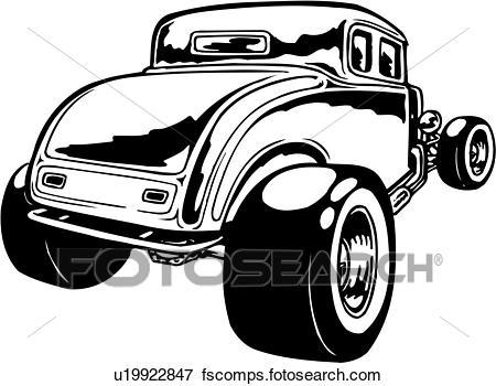 450x350 Clip Art Of Illustration, Lineart, Classic, Car, Auto, Automobile