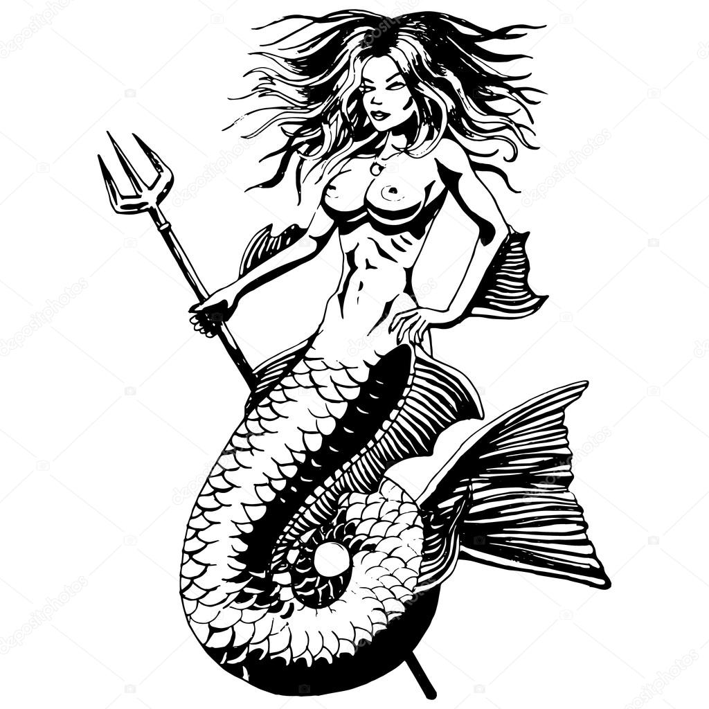 1024x1024 Mermaid. Vintage Drawing Isolated. Vector Stock Vector
