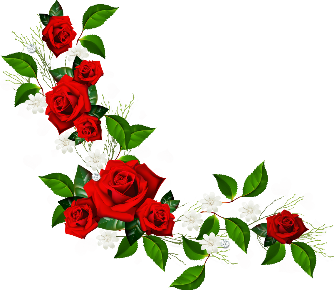 1137x987 Decorative Element With Red Roses White Flowers And Hearts