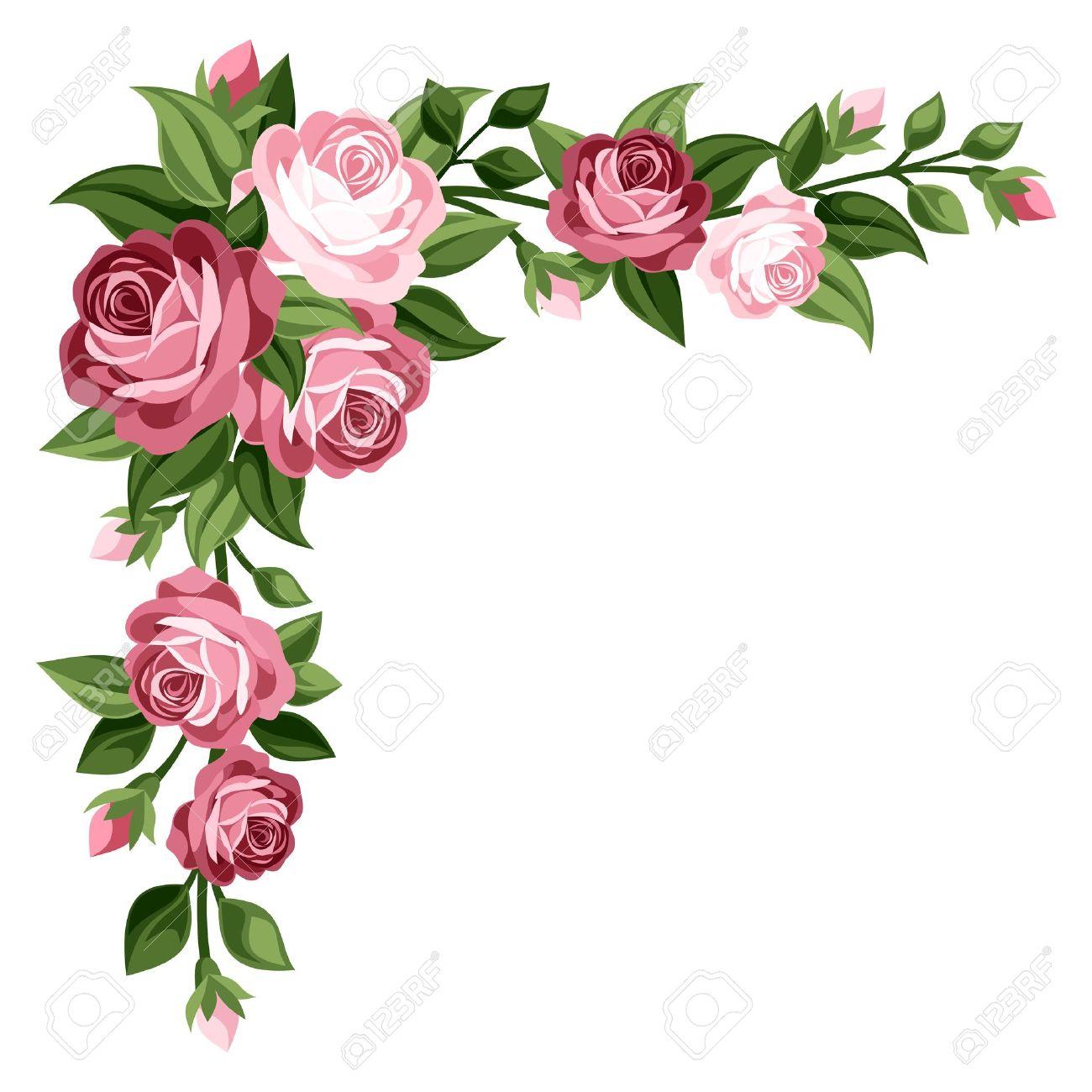 1300x1300 Pink Vintage Roses, Rosebuds And Leaves Illustration Royalty Free