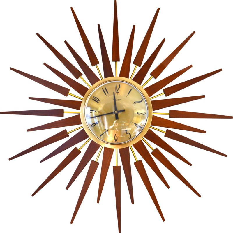 800x800 Large Sunburst Wall Clock In Teak And Brass