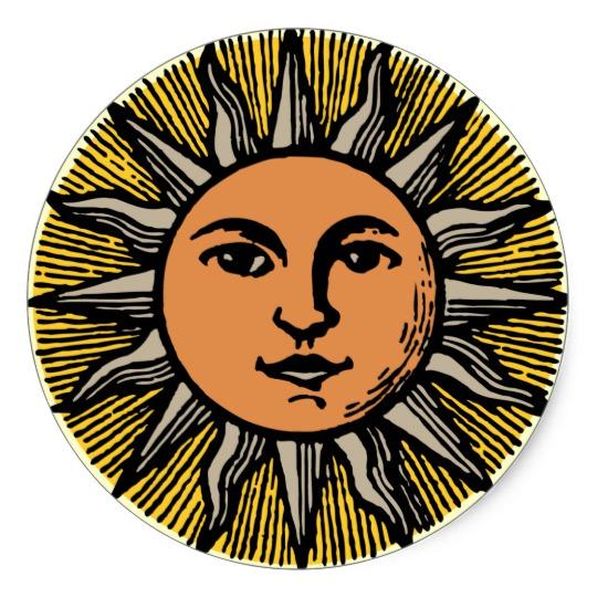 540x540 Vintage Sun Face Classic Round Sticker