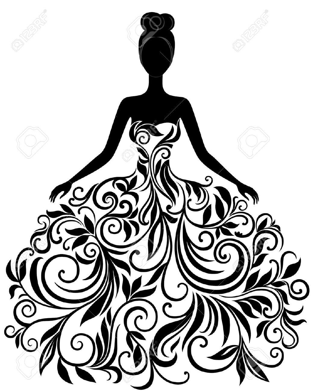 1039x1300 Black Dress Clipart Vintage Wedding Dress 2498016