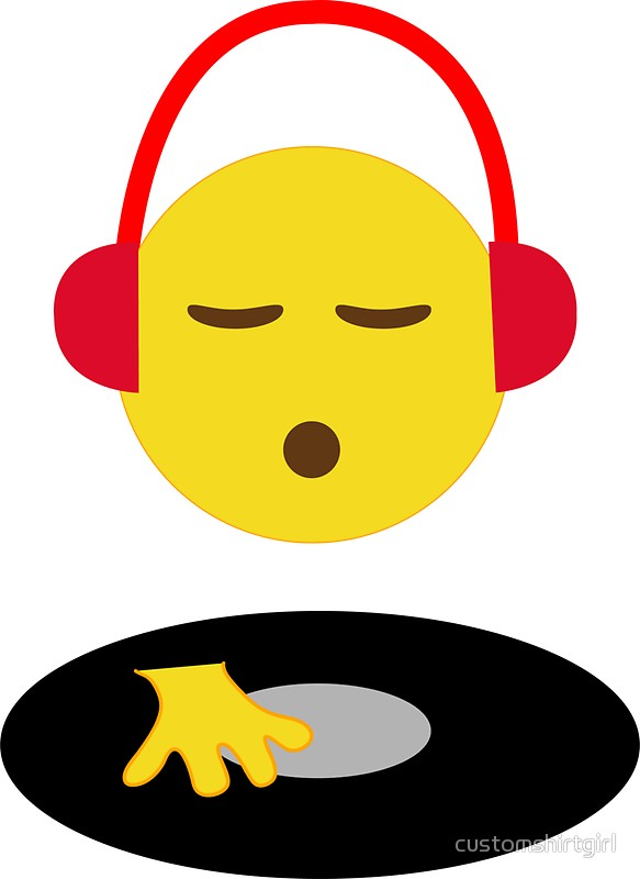 583x800 Emoji Dj Disc Jockey Scratch Vinyl Record Turntable Retro Design