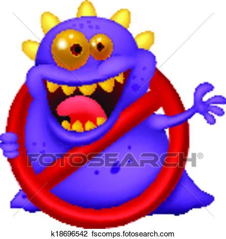 444x470 Clipart Of Cartoon Stop Virus