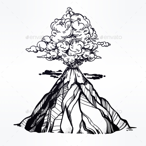 590x590 Vector Hand Drawn Sketch Of The Volcano. By Itskatjas Graphicriver