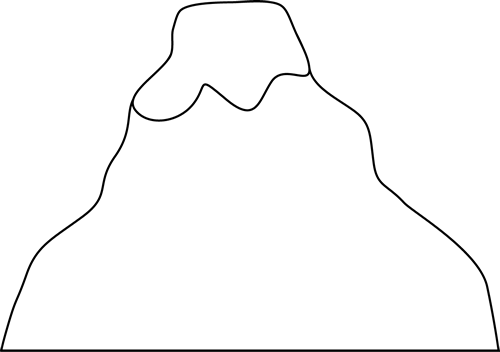 500x352 Black And White Volcano Clip Art