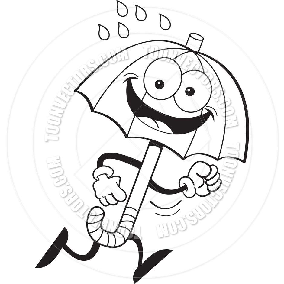 940x940 Cartoon Umbrella Running (Black And White Line Art) By Kenbenner