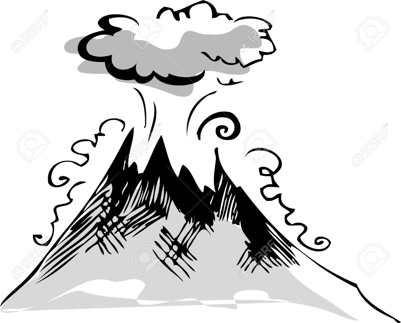 1300x1047 Clip Art Volcano Clip Art Black And White
