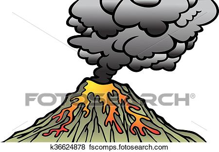 450x313 Clip Art Of Active Volcano Isolated K36624878