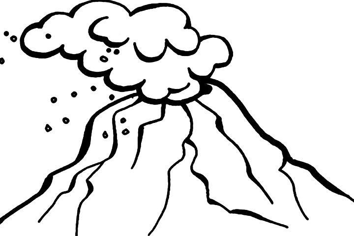 720x480 Volcano outline clipart