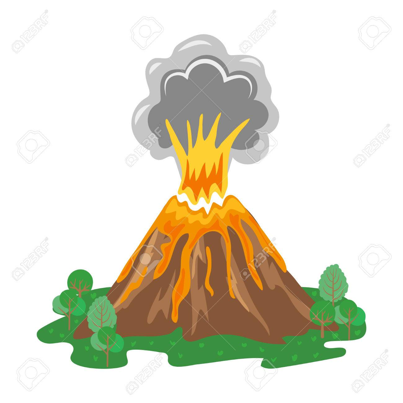 1300x1300 Volcano Eruption With Smoke And Erupting Lava. Vector Illustration