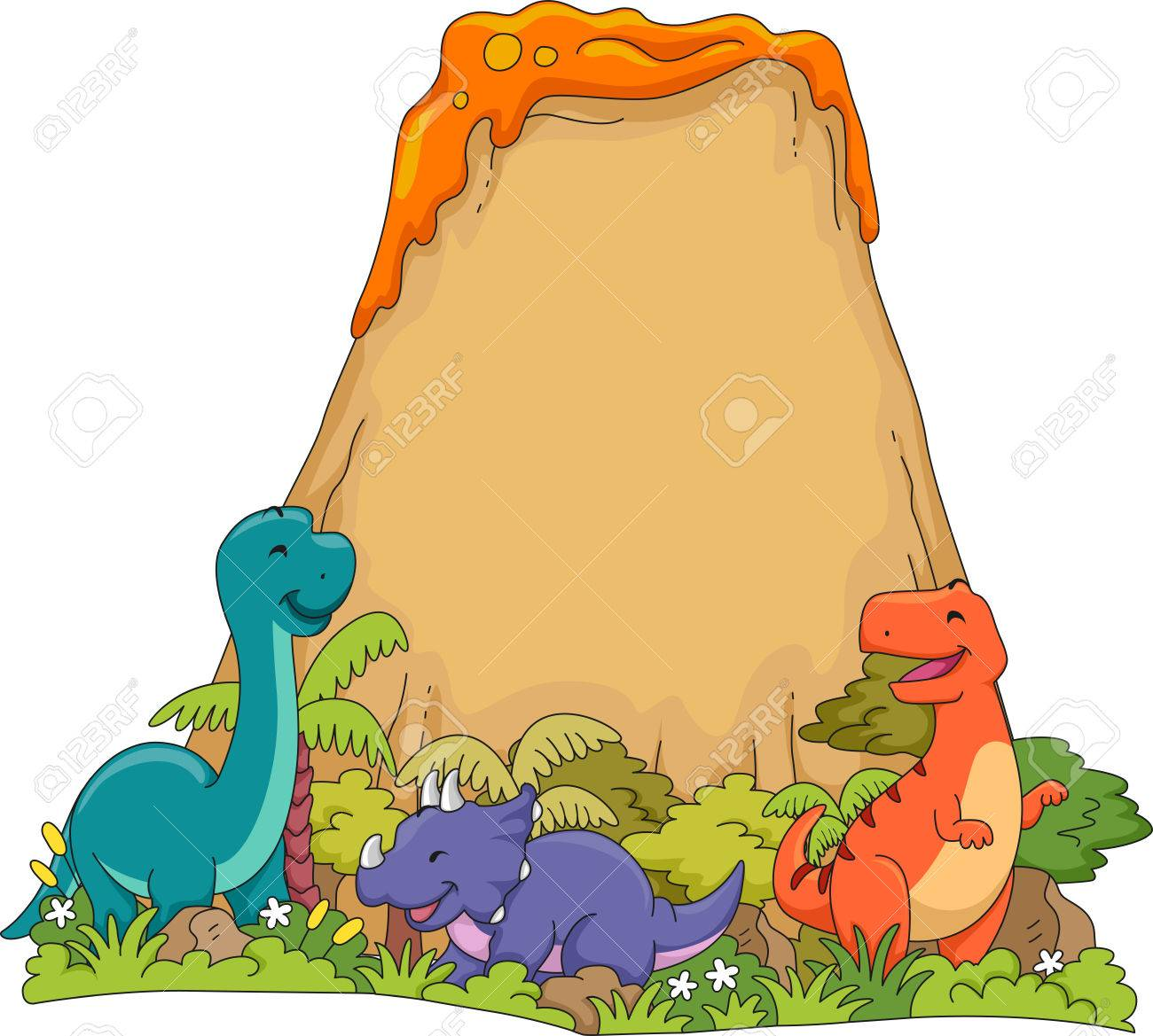 1300x1169 Illustration Featuring Dinosaurs Playing Near A Volcano Royalty