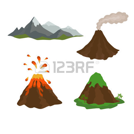 450x450 Active, Dormant Volcano, Mountain, Set Of Royalty Free Cliparts