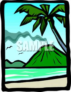 234x300 Art Image A Smoking Volcano On A Tropical Island