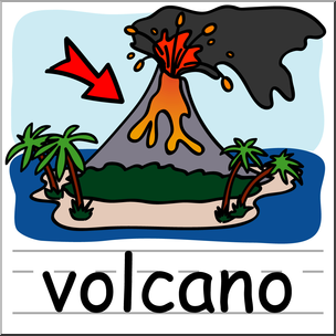 304x304 Clip Art Basic Words Volcano Color Labeled I Abcteach