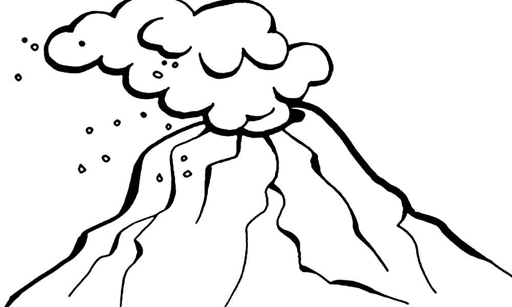 1000x600 Volcano Coloring Pages