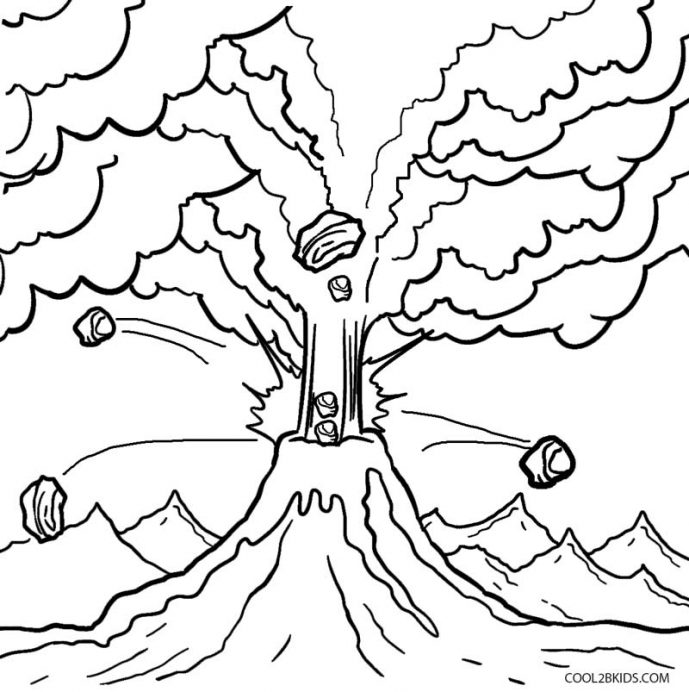 689x692 Volcano Coloring Pages S