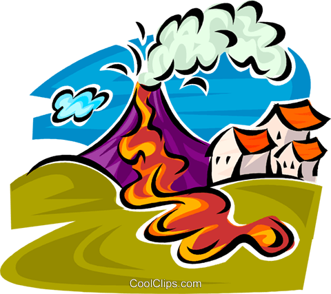 480x427 Volcano Erupting Royalty Free Vector Clip Art Illustration
