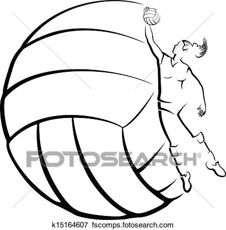 450x458 Clip Art Of Volleyball Player With Volleyball B K15164607