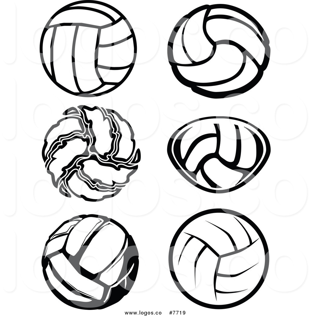 1024x1044 Royalty Free Clip Art Vector Black And White Volleyball Logos By