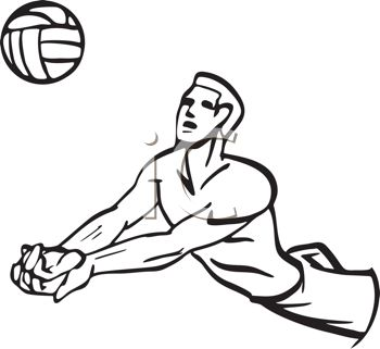 350x321 Black And White Cartoon Of A Volleyball Player Doing A Bump Pass
