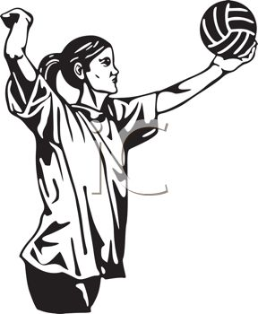 288x350 Royalty Free Clipart Image Black and White Volleyball Player