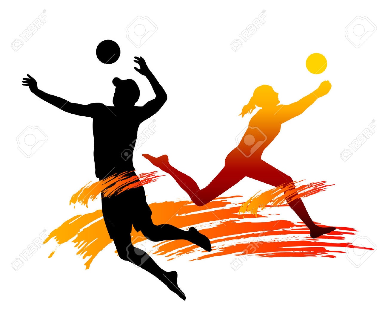 Volleyball playing. Clipart images free download