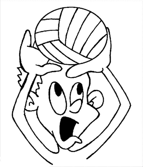 600x699 Funny Kids Playing Volleyball Coloring Page