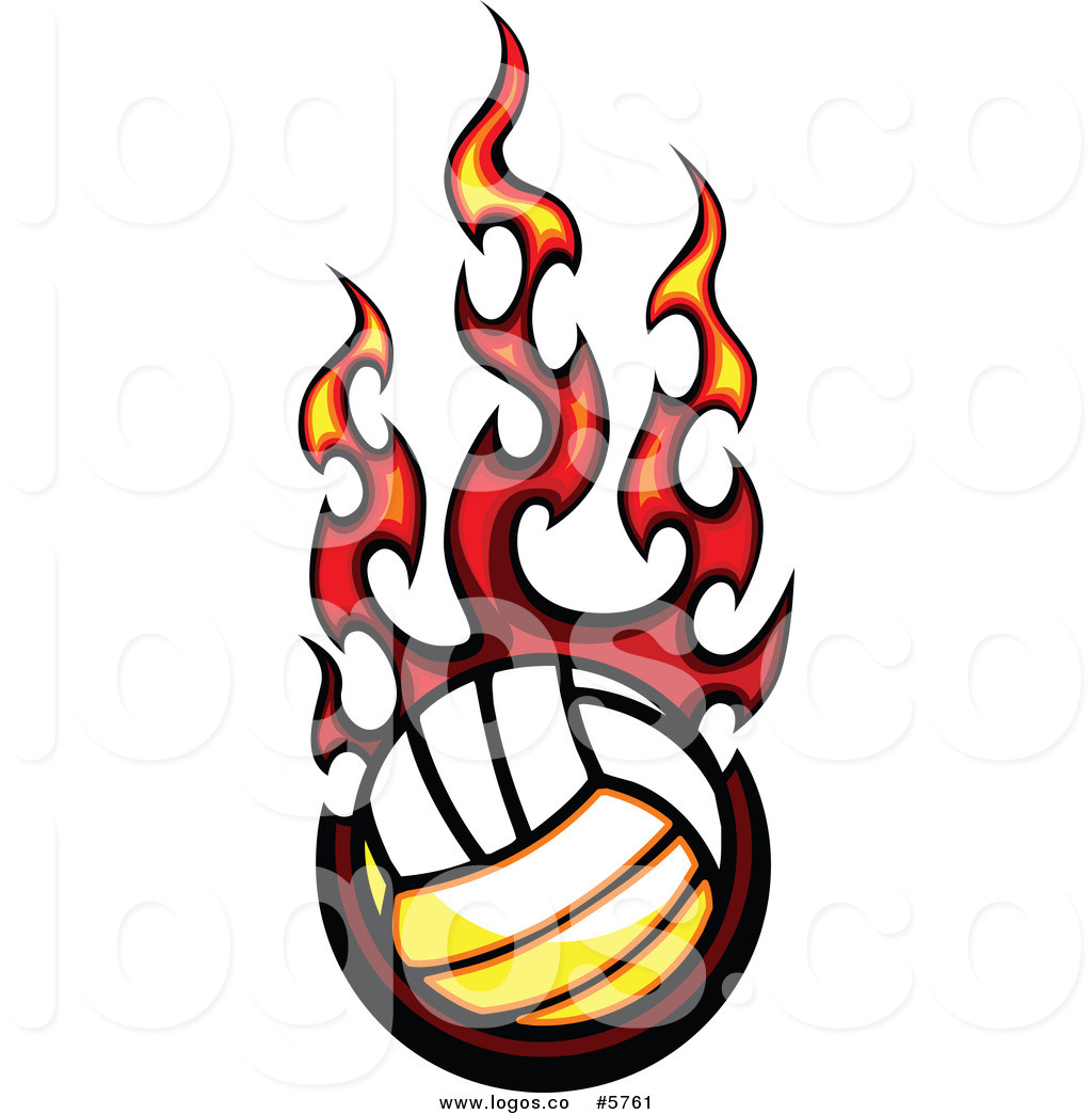 1024x1044 Royalty Free Vector Of A Logo Of A Fiery Volleyball By Chromaco