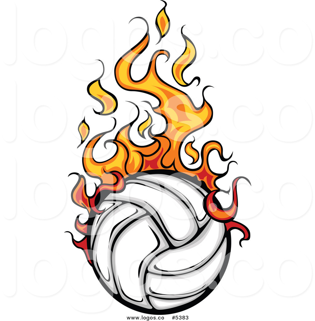 1024x1044 Royalty Free Vector Of A Logo Of A Flaming White Volleyball By