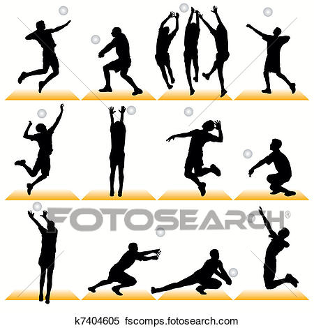 450x470 Clipart Of 12 Volleyball Players Silhouettes K7404605