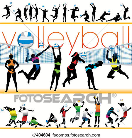 450x470 Clipart Of 30 Volleyball Players Silhouettes K7404604