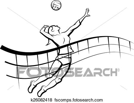450x345 Clip Art Of Volleyball Spike With Flowing Net K26082418