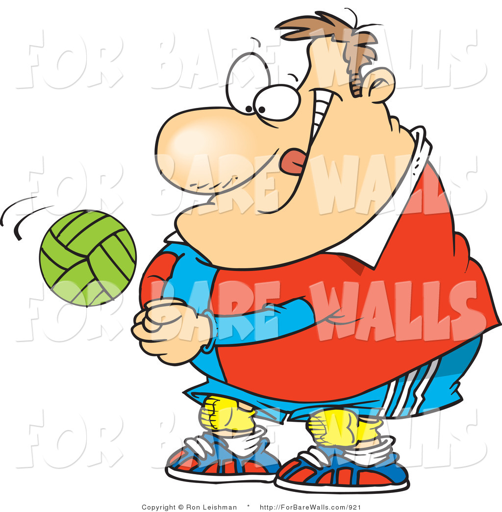 1024x1044 Printable Illustration Of A Cartoon Obese Male Volleyball Player