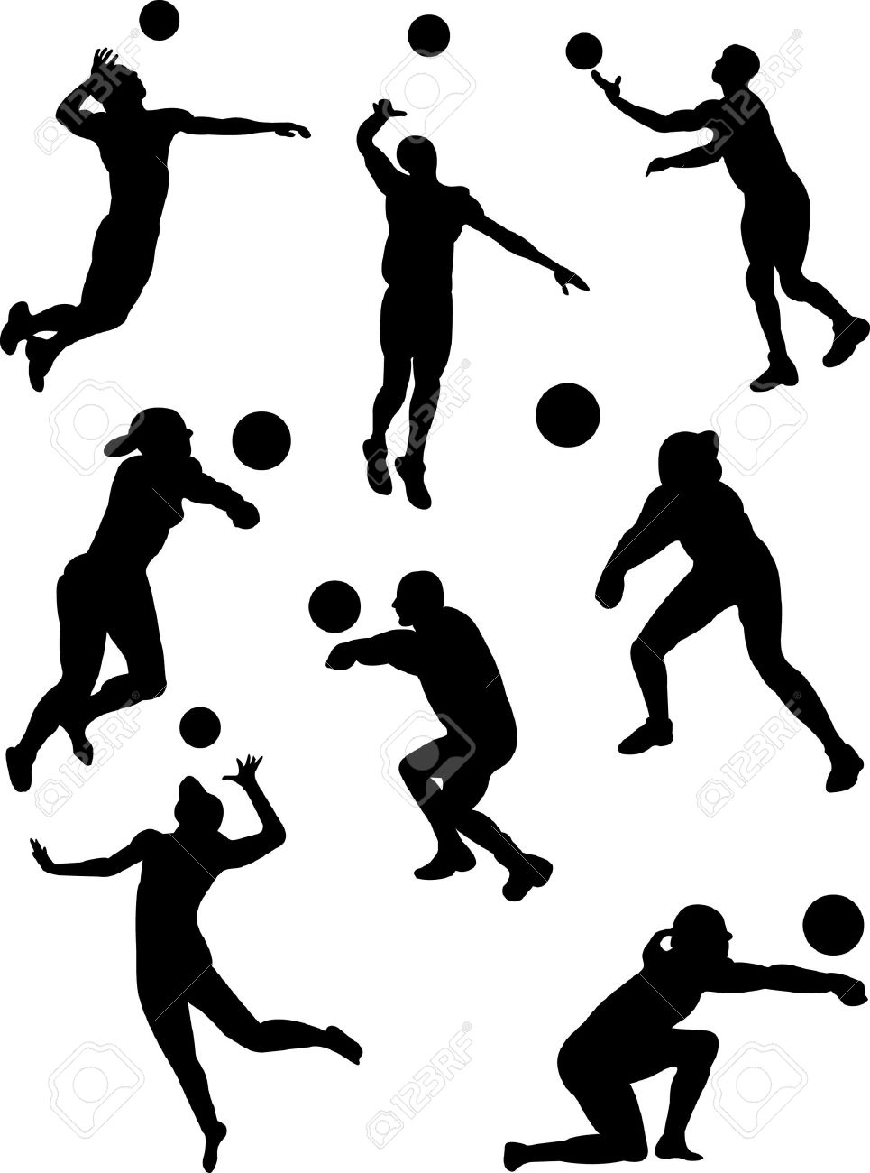Volleyball Silhouettes | Free download best Volleyball ...